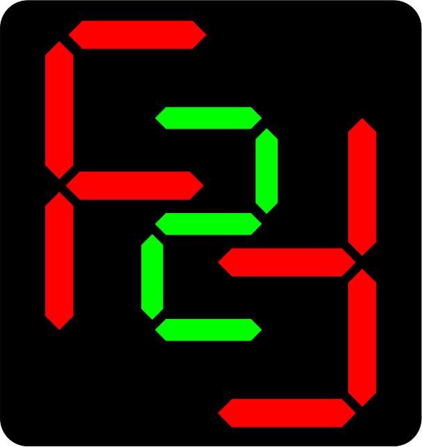 F2F logo in segment display.